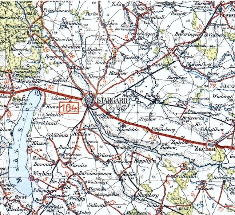 Pommern Karte Vor 1945.Stargard Anfang M Rz 1945